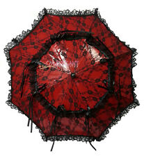 Black Red Battenburg Lace Children Flower Girls Parasol Wedding Party Umbrella
