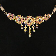 NYJEWEL 22k Solid Gold Brand New Indian Style Gemstones Pearl Bridal Necklace