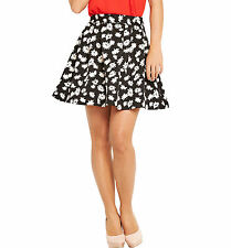Size 18 Black Cream Flower Print Be Fab Jacquard Simply Swing Circle SKIRT £44