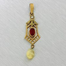 1890s Antique Victorian Estate 10k Yellow Green Gold Pearl Ruby Necklace Pendant