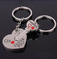 "AZ ""I Love You"" Heart+Arrow + Key Couple Key Chain Ring Keyring Keyfob For Lover"