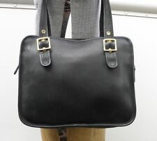 COACH Vintage USA Black Leather Large Tote Handbag H0D-9163 Purse Briefcase Styl