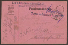 AUSTRIA / ITALY. WW1. FELDPOST. 1916. FPO 32. MACHINE GUN UNIT 27th REGIMENT. ZU