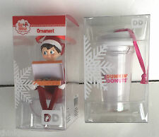 Dunkin Donuts 2016 Elf on the Shelf and Snow Globe Cup Christmas Ornaments
