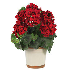 NEW GERANIUM RED FLOWERS SILK PLANT FLORAL ARRANGEMENT VASE ARTIFICIAL FAUX FAKE