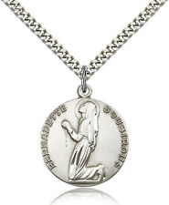 "Saint Bernadette Medal For Men - .925 Sterling Silver Necklace On 24"" Chain -..."