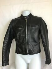VANSON Black Leather Cafe Racer Motorcycle Jacket USA MADE Size 36