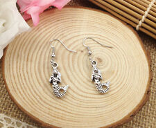 Free shipping Fashion Antique Silver Jewelry  mermaid earring @5