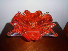 SIGNED CHALET Canada Heavy  ORANGE ART GLASS Retro BOWL MID CENTURY