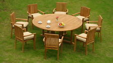 9 PC TEAK STACKING GARDEN OUTDOOR PATIO FURNITURE POOL - LUA DINING DECK E02