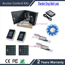 ZK 2 doors access control board with card reader+touch exit button+electric lock