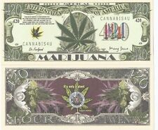 MEDICAL MARIJUANA WEED 420 NOVELTY BANKNOTE MONEY WITH PROTECTIVE HOLDER