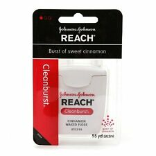 4 Pack Johnson&Johnson REACH Dental Floss Cleanburst of Sweet Cinnamon 55 yds Ea