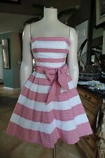 BETSEY JOHNSON Red/White Striped Gingham Fit & Flare Strapless Sheath Dress 4