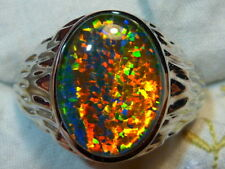 Mens Opal Ring Sterling Silver, Lab Created 16x12mm Oval Triplet. item 110319.