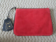 NWT Auth Balmain H&M Red Suede Black Leather Zip Clutch Handbag Bag SOLD OUT
