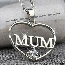 BLACK FRIDAY OFFER - SALE Silver MUM Heart Necklace Xmas Gifts For Mother Women