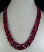 "Natural 2x4mm NATURAL RUBY FACETED BEADS NECKLACE 3 STRAND 17""-19"" LS-01"