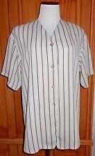 EMANUEL UNGARO Top 8 Beige Tan Striped Button Front Shirt Tunic Euro 42