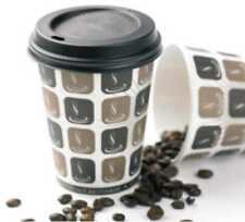 100 X 8oz Cafe Mocha Paper Cup & Black Sip Lids Coffee Tea Disposable