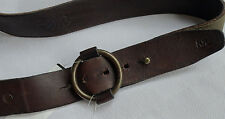 Ralph Lauren RRL DOUBLE RL Leder Loop Buckle Belt Gr 32  Braun-Grün
