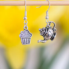 A Pair Antique Silver Teapot Cupcake Dangle Earrings
