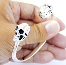 2 OZ. HEAVY SKULL BIKER STERLING 925 SILVER CUFF BANGLE BRACELET MENS JEWELRY