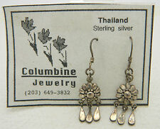 New Old Stock Thailand Sterling Silver Flower Dangle Earrings