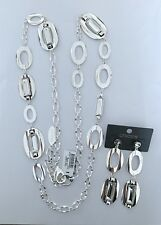 """NWT CHICO'S SILVER TONE CUT CRYSTAL 39""""-42"""" NECKLACE+EARRINGS SET"""