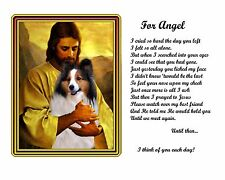 Collie Memorial Picture w/Jesus/Poem Personalized w/Dog's Name-Pet-Loss Gift