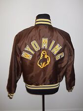 vtg 80s Brown University of Wyoming Cowboys SATIN JACKET Snaps Men's size LARGE