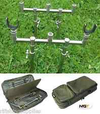 CARP FISHING GOAL POST BUZZ BAR SET 20-35CM BANKSTICKS 2 X U RESTS + BUZZBAR BAG