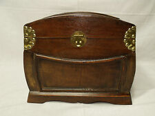 VINTAGE ALL WOOD LATCHING TREASURE CHEST JEWELRY BOX -- HAND CRAFTED