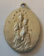 Old French Medal Our Lady of Mount Carmel & Sacred Heart of Jesus Aluminium
