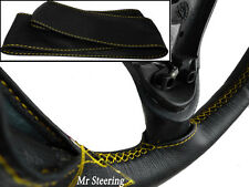 FOR VW TIGUAN 07-12 REAL BLACK LEATHER STEERING WHEEL COVER YELLOW STITCH