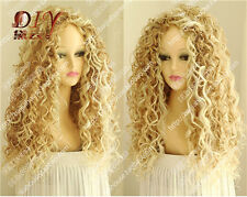 Women's New Long Mix Blonde Fashion Wig Sexy Curly Natural Hair Cosplay Wigs
