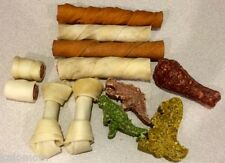 Rawhide VALUE BAG Dog Chews 1 POUND Bulk Munchy Package Natural Pressed Munchie