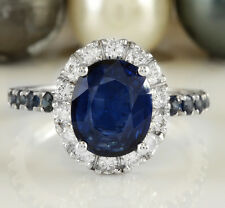 3.55CTW Natural Blue Sapphire and DIAMOND in 14K Solid White Gold Women Ring