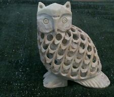 Large hand carved soapstone owl within a owl, gift!!