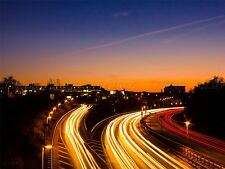 PHOTOGRAPHY COMPOSITION TIME LAPSE MOTORWAY CAR HEADLIGHTS POSTER PRINT BMP10580