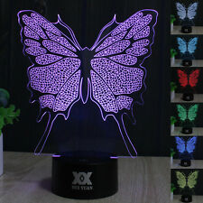 Butterfly 3D LED illusion Night Light 7 Color Touch Switch Table Desk Lamp Gifts