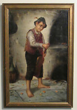 LISTED FRENCH FRANCOIS BRICARD BOY WITH VIOLIN OIL ON CANVAS
