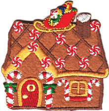 GINGERBREAD HOUSE w/SANTA SLED & MINTS/Iron On Embroidered Applique-Christmas