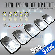 5pcs Clear LED Roof Top Truck SUV Cab Marker Running Clearance Light Set Kit