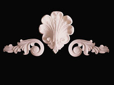 ORNATE SCROLLS AND CENTRE MOULDING FOR MIRROR OR FIREPLACE WHITE PLASTER