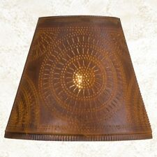 "primitive new 14 "" RUSTY TIN punched chisel lamp shade / nice"