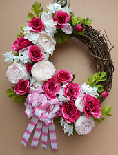 "17"" White Dark Pink Floral Spring Summer Door Wreath Handmade"