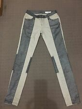 SASS AND BIDE WINTERGATE WAX PANEL SILVER JEANS SIZE 26/8 AU