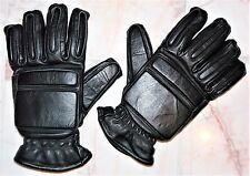 EX POLICE BLACK LEATHER RIOT GLOVES HEAVY DUTY SHORT CUFF GAUNTLETS SIZE LARGE
