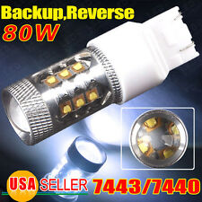 1 Cool White 80W 7443 HIGH POWER PROJECTOR 1920LMS BACKUP REVERSE LED LIGHT BULB